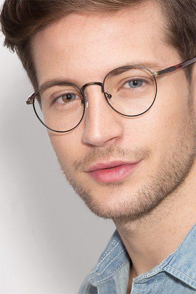 Matte Black And Tortoise Round Prescription Eyeglasses Small Full