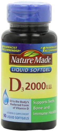 Nature Made Vitamin D 2000 I.U. with D3 Liquid Softgels, 90 Count ** Check out this great product.