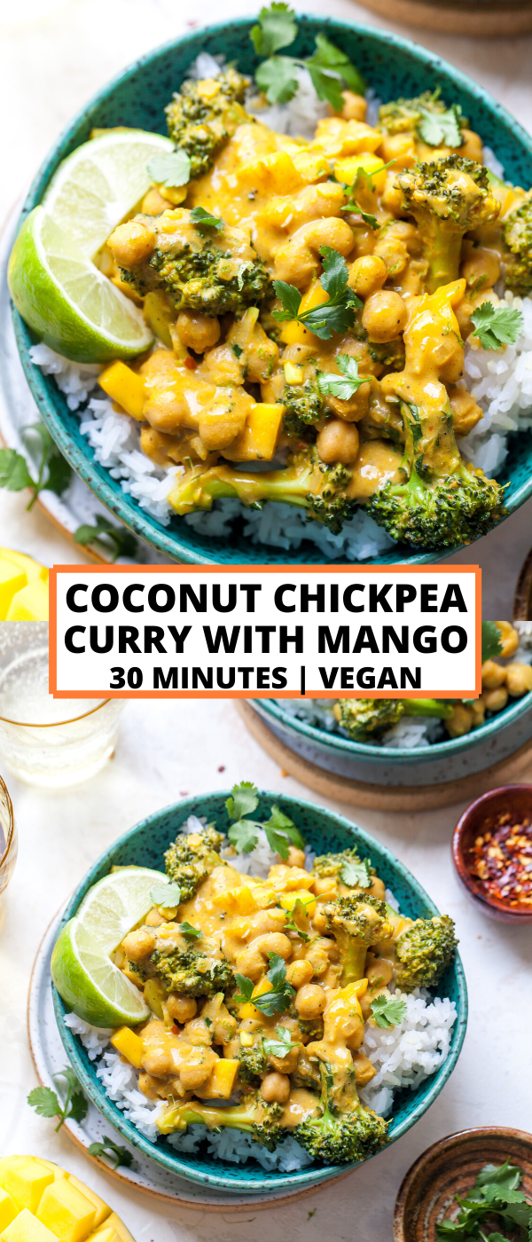 Coconut Chickpea Curry With Mango Recipe Curry Recipes Vegetarian 30 Minute Meals Healthy Vegetarian Meal Prep