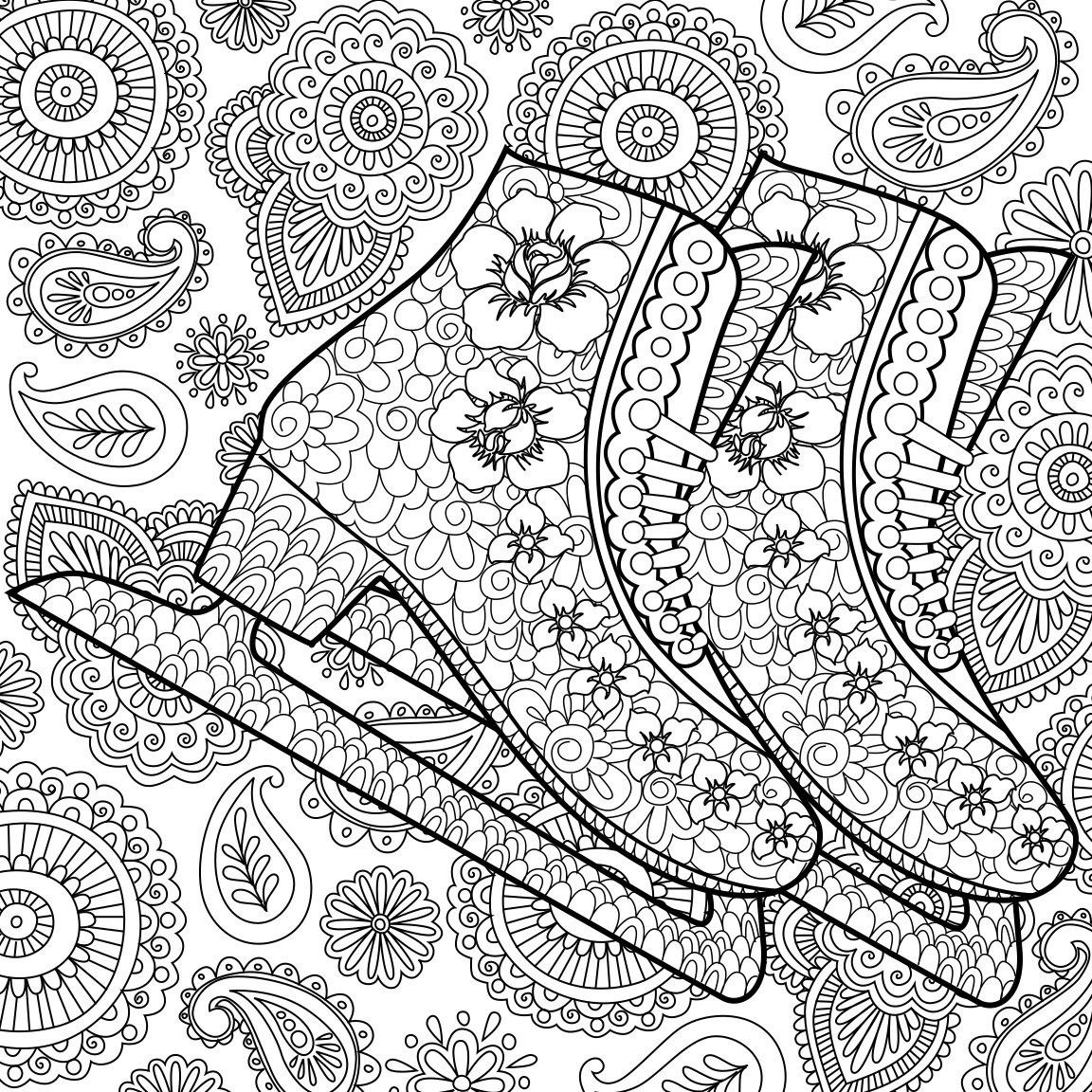 Printable Coloring Page Zentangle Figure Skating Coloring Book By