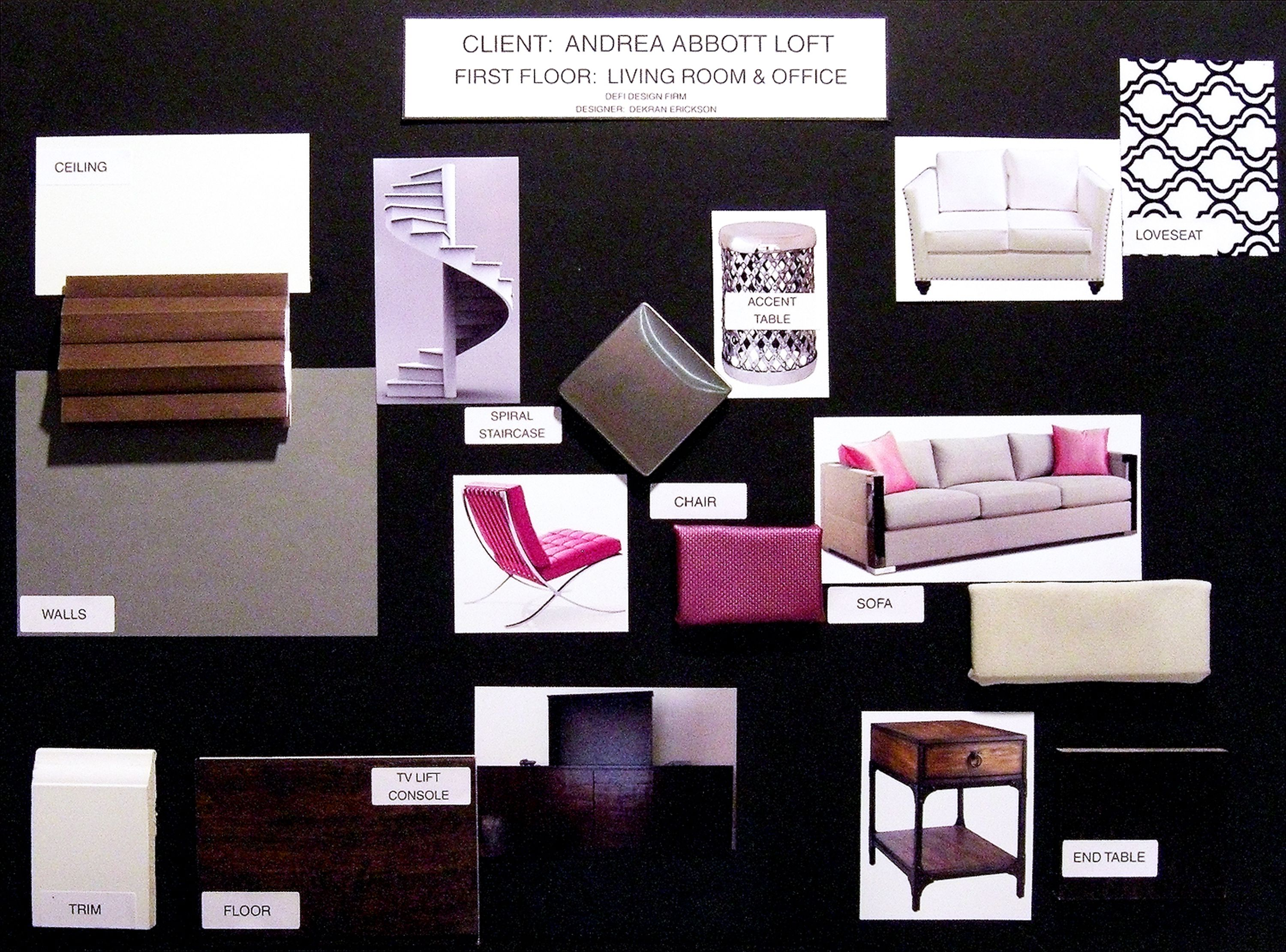 Material sample board for a living room my art for Interior design samples