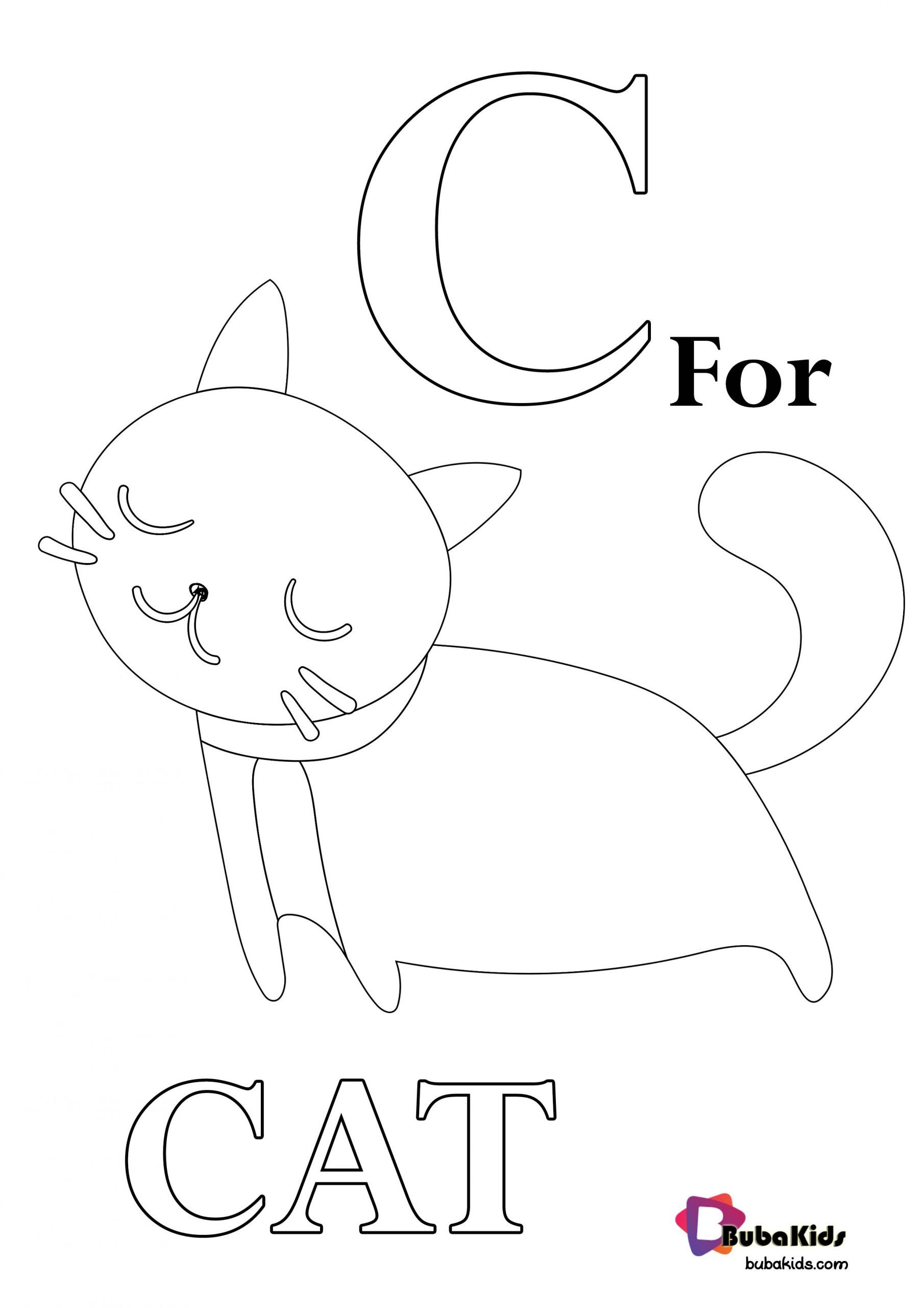 C For Cat Alphabet Printable Coloring Page Collection Of Animal
