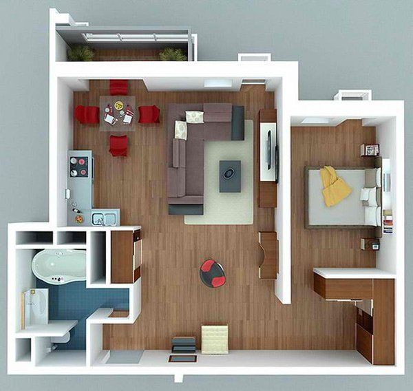 20 One Bedroom Apartment Plans For Singles And Couples Home Design Lover One Bedroom House Plans Small Apartment Plans 1 Bedroom House Plans