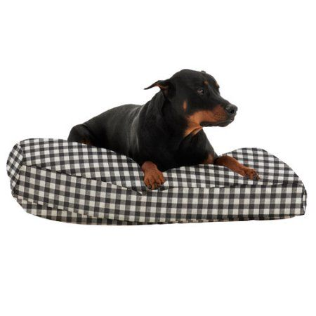 WufFuf Pet Bed with Liner, 42 inchL x 28 inchW x 7 inchH, Oxygen Candy Pink with White Dots, Black