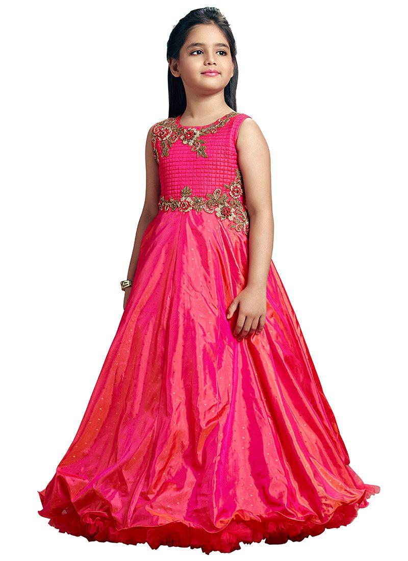 7892e58e1bc8b Buy Pink Art Silk N Satin Blend Anarkali Gown online, SKU Code ...