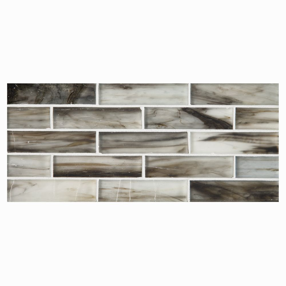 """Complete Tile Collection Zumi Structured Recycled Glass Mosaic - Nikael - Silk, 1"""" x 4"""" Brick Glass Mosaic, MI#: 038-G2-272-213, Color: Nikael - 70% Recycled Content"""