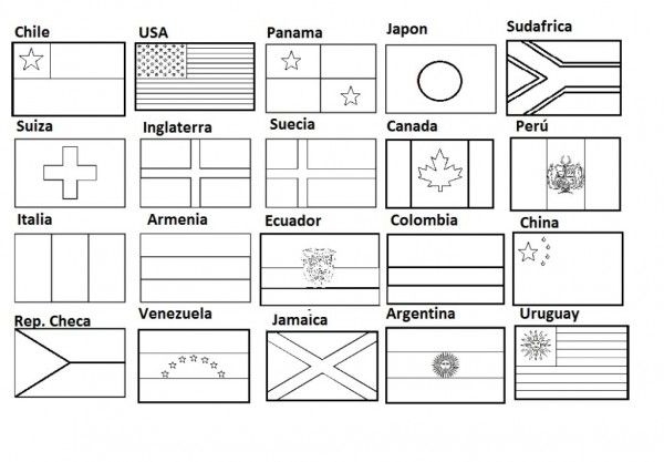 Banderas para colorear e imprimir | primaria act. | Pinterest