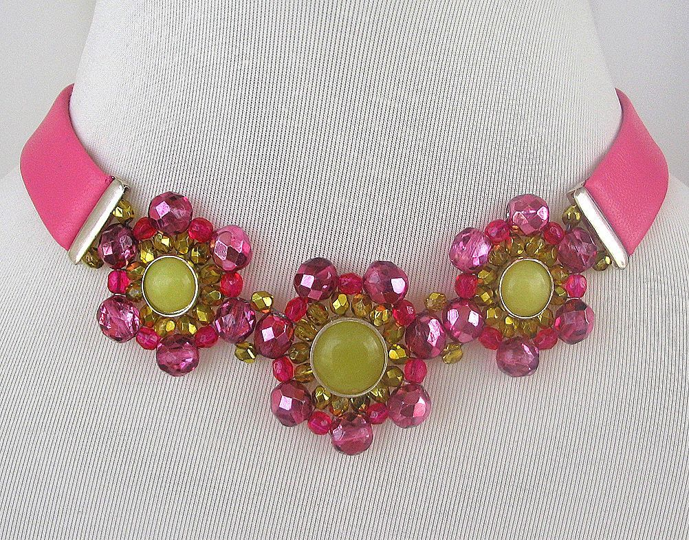 Pink leather choker, crystal, silver artisan jewelry. Designer bold necklace for upscale fashion.