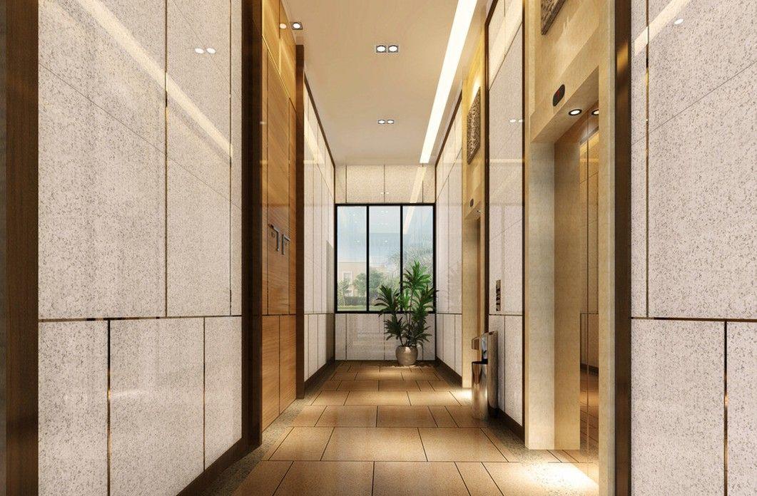 Minimalist style hotel elevator corridor 3d design for Minimalist hotel