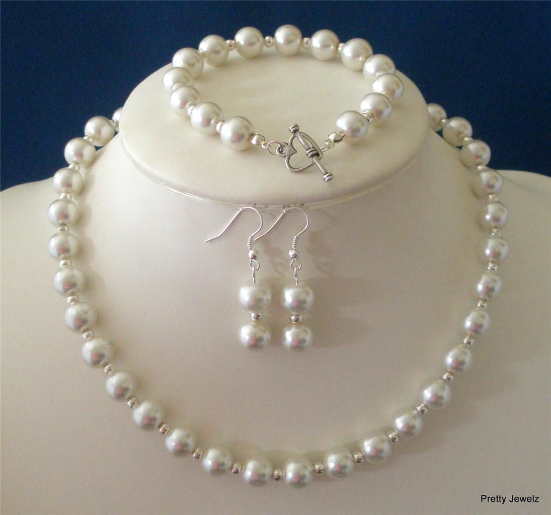 Gl Pearl Necklace Bracelet Earrings Set For Bridesmaid Gifts This Runs About 15 The