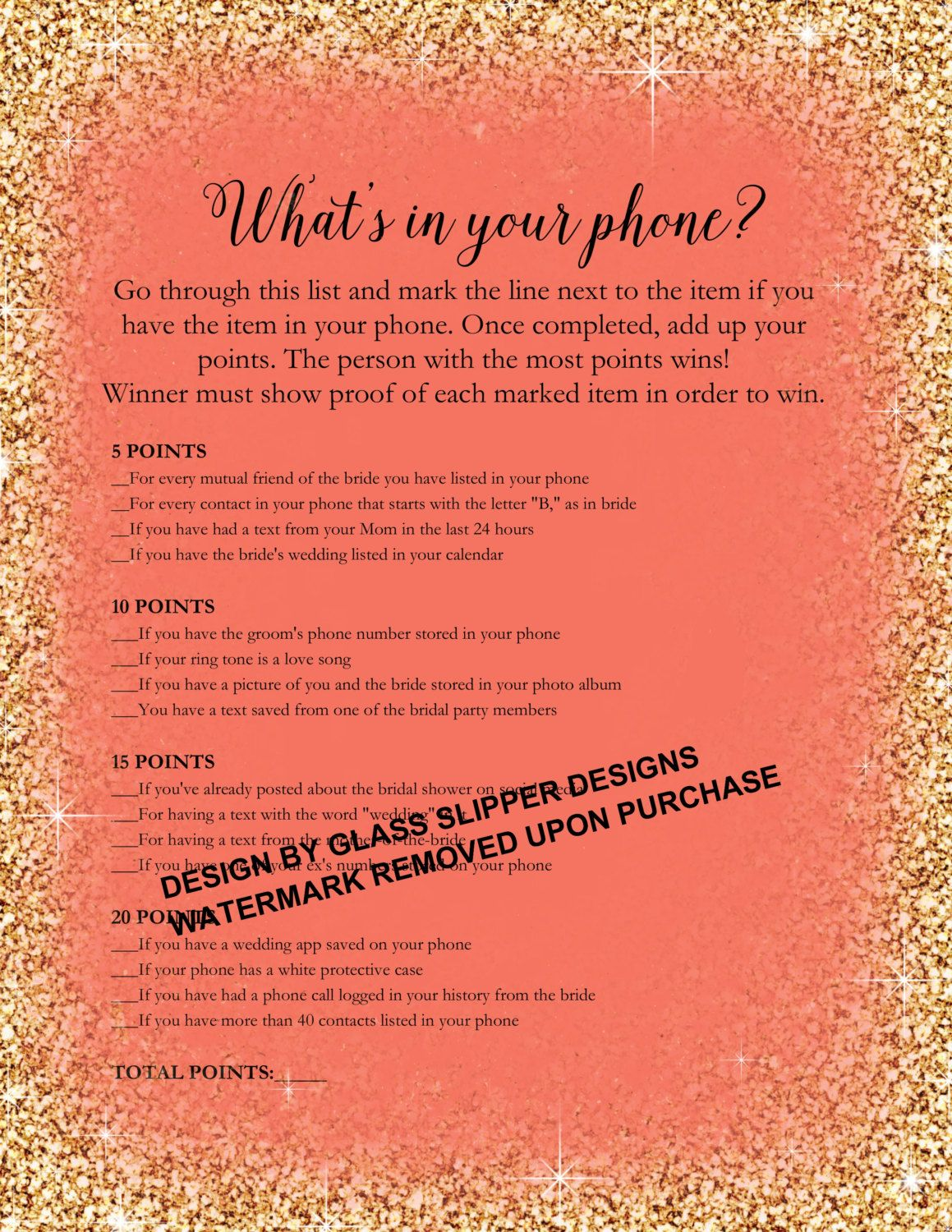 Printable what\'s in your phone bridal shower/bachelorette game ...