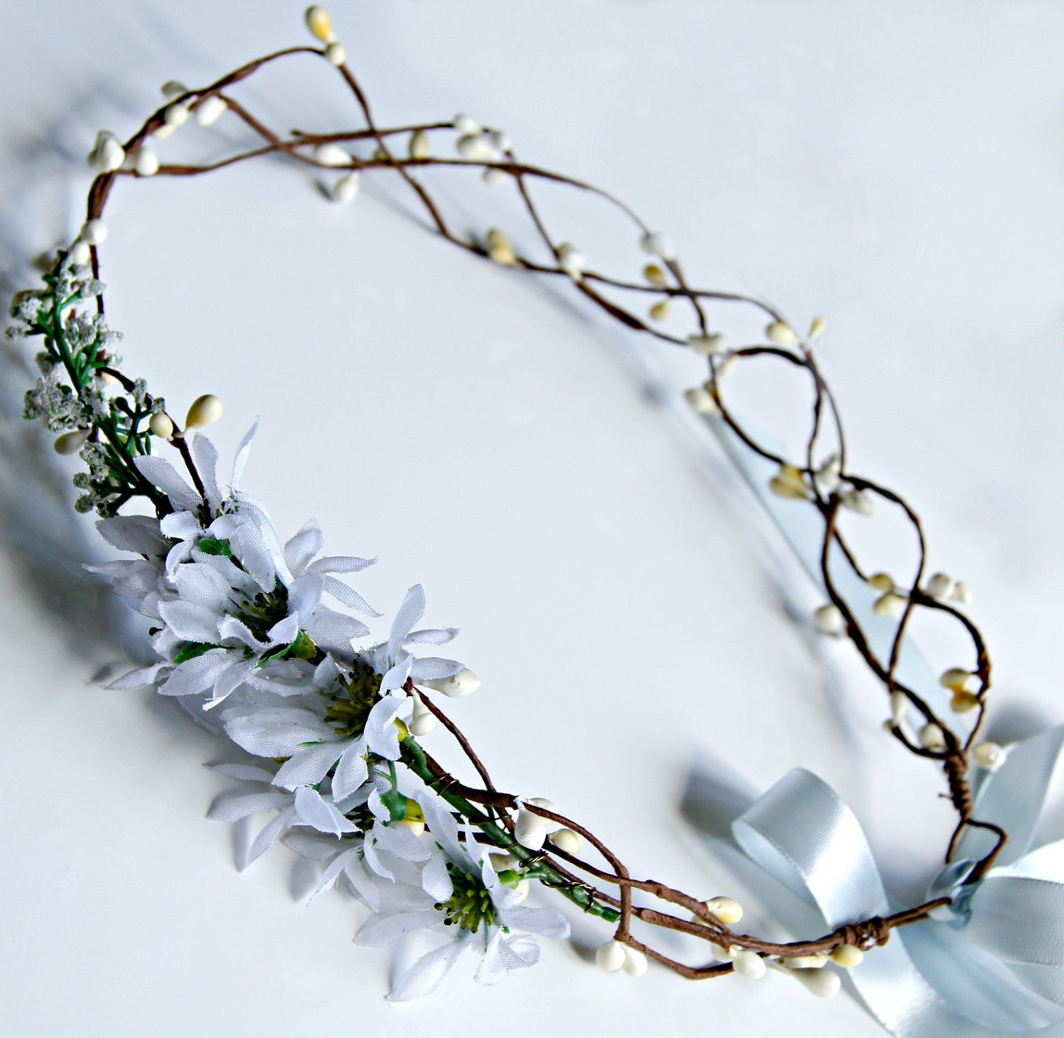 Daisies flower crown white woodland wedding crown wire vine bridal daisies flower crown white woodland wedding crown wire vine bridal crown rustic wedding izmirmasajfo