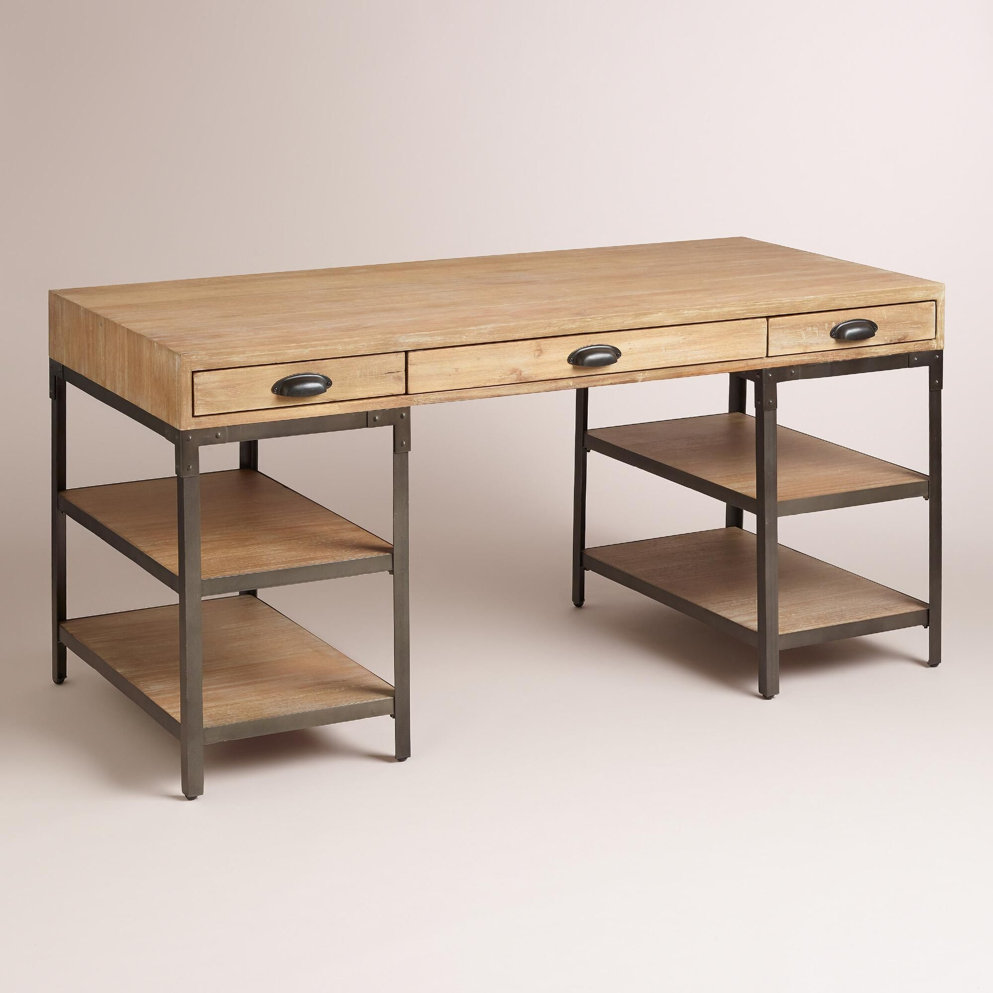 Wood And Metal Teagan Desk Cheap Office Furniture Wood And