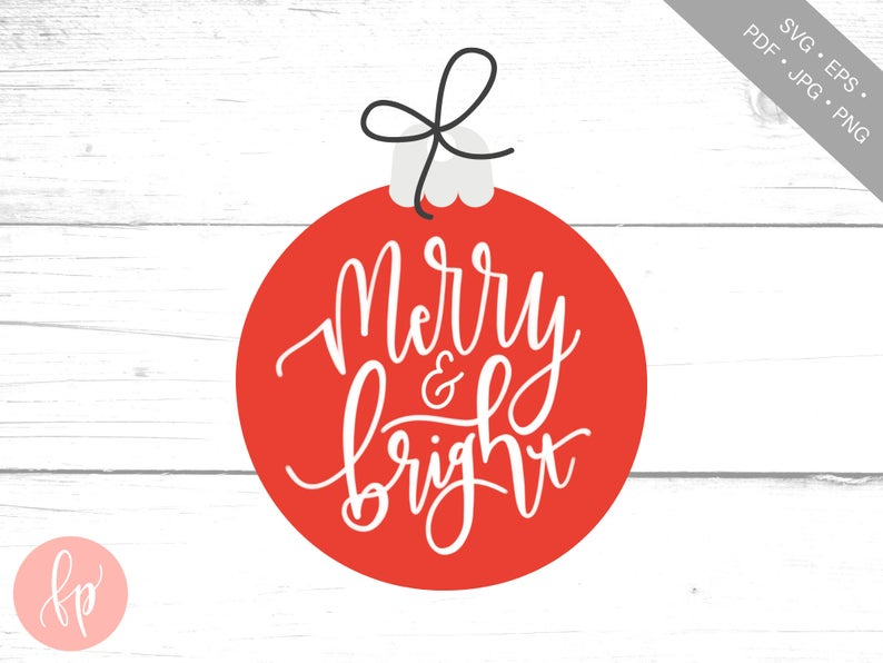 Merry and Bright Hand Lettered SVG Hand lettered svg