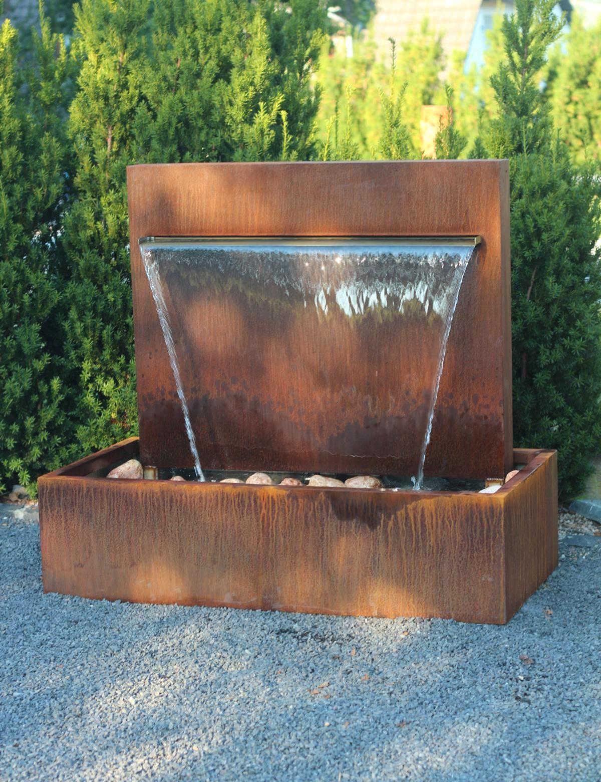 Wasserspiel Cortenstahl Wasserfall 90 Im Edelrost Design Inkl