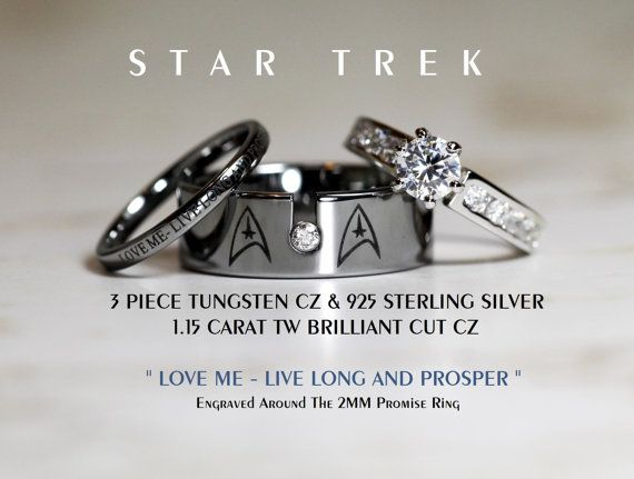 star trek tungsten and 925 sterling silver 115 carat cz wedding ring set 8mm star fleet insignia all custom engraved - Star Trek Wedding Ring