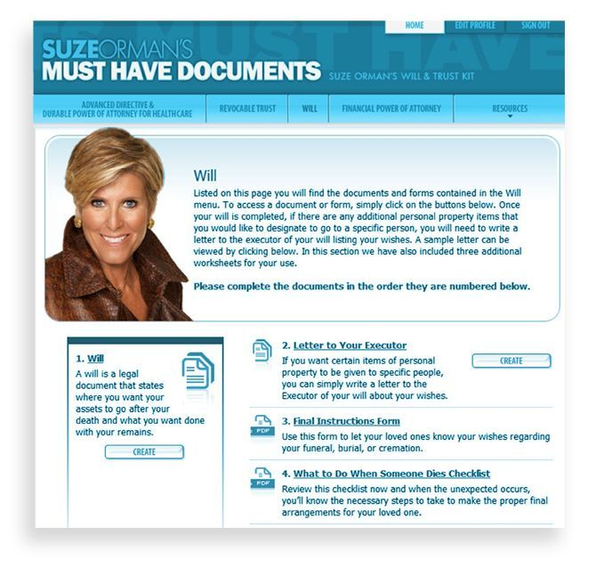 Suze orman 4 Must have documents - set up your own living ...