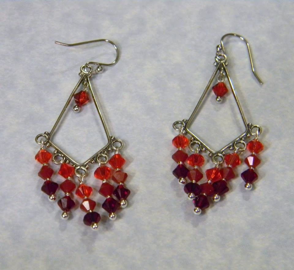 Shades of red bicone crystals chandelier earrings chandelier shades of red bicone crystals chandelier earrings arubaitofo Choice Image
