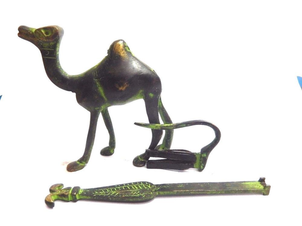 Elephant Shape Vintage Unique Finish Handmade Brass Padlock with Key Tribal Art