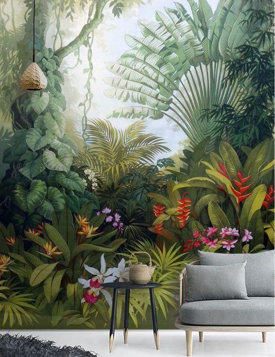 papier peint panoramique tapisserie murales stickers muraux Salon papier peint perroquet plante for/êt tropicale tropicale nordique Papier Peint 3d poster