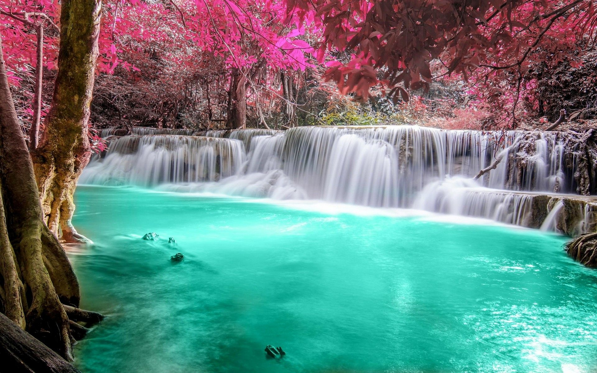 Waterfall Forest Colorful Nature Thailand Trees Landscape
