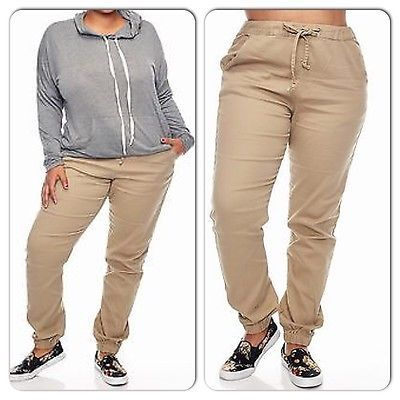 1a6f9b50b7b Plus Size Woman Twill Khaki Joggers Pants Size 3XL