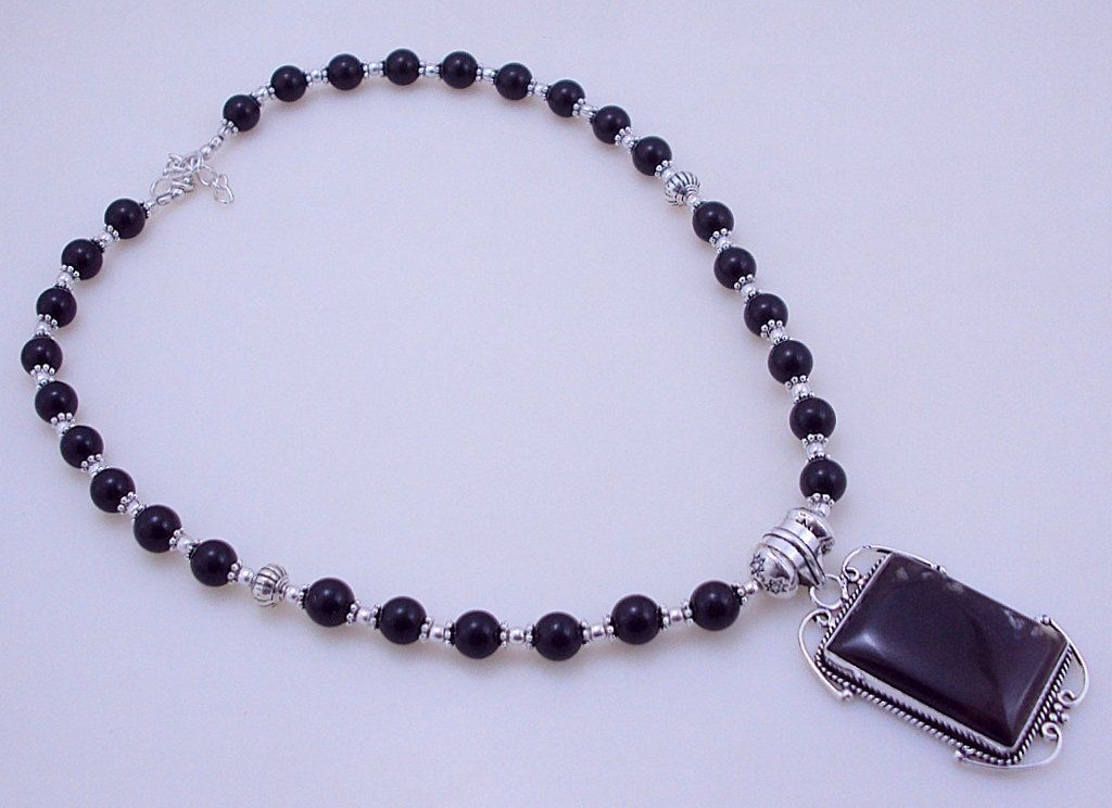 free shipping F-309 Botswana Agate-Black Onyx .925 Silver Beaded Necklace Jewelry 54 Gr. by SILVERHUT on Etsy