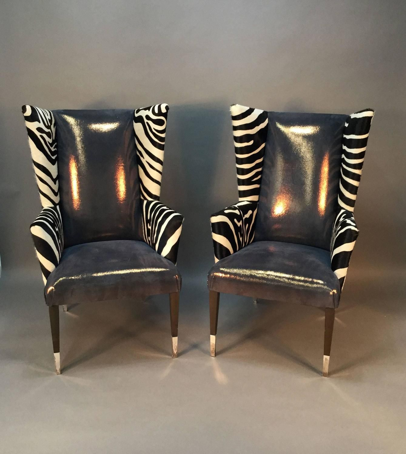 Delicieux Pair Of Modern Wingback Chairs In Zebra Printed Cowhide And Faux Shagreen.  Available From Fairfield