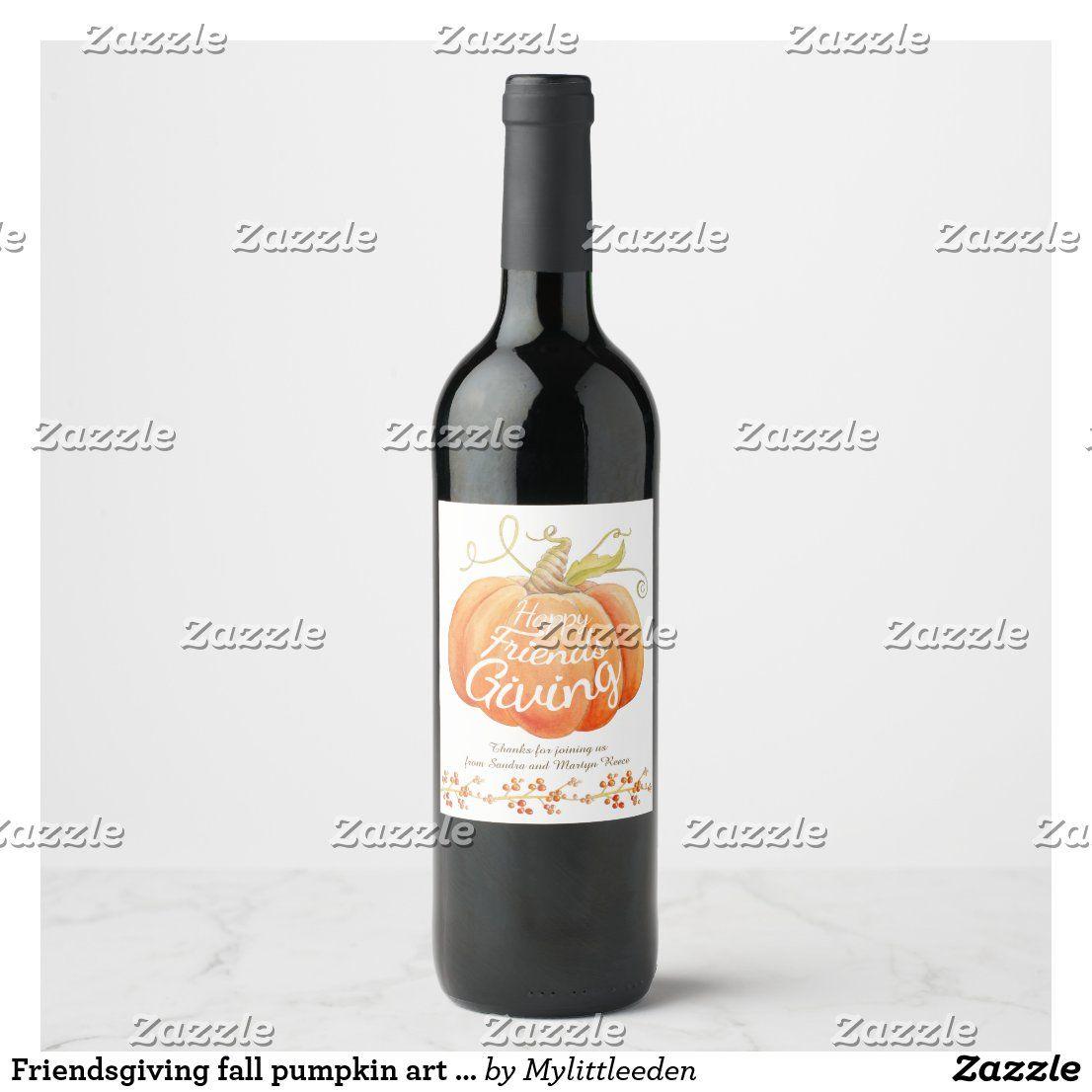 Friendsgiving fall pumpkin art custom wine labels | Zazzle.com