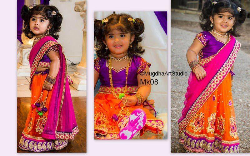 Mugdha S Trendy Half Sarees Boutiquesarees Com Orange Kids Dresses Kids Lehenga Traditional Baby Dresses