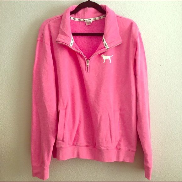 PINK - Pink Half-Zip Sweater New Without Tag. Never Worn. PINK. Pink Half-Zip Sweater. PINK Victoria's Secret Tops Sweatshirts & Hoodies