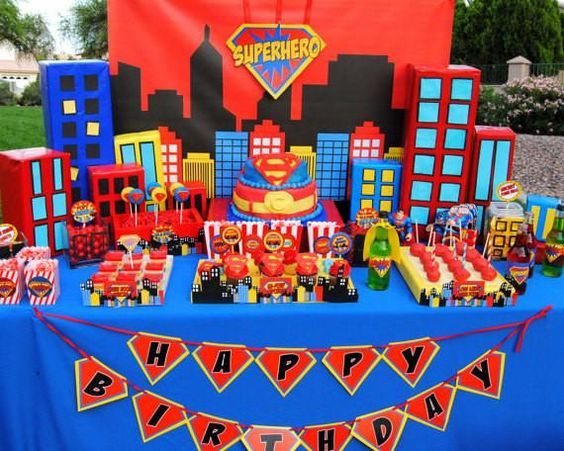 SUPERHERO Party COMIC Hero Party CITY SCAPE Superhero Birthday