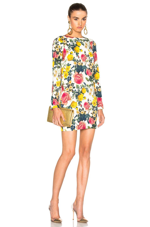 Yellow dress long sleeve  Long Sleeve Mini Dress In White Floral Ivory  Long sleeve mini