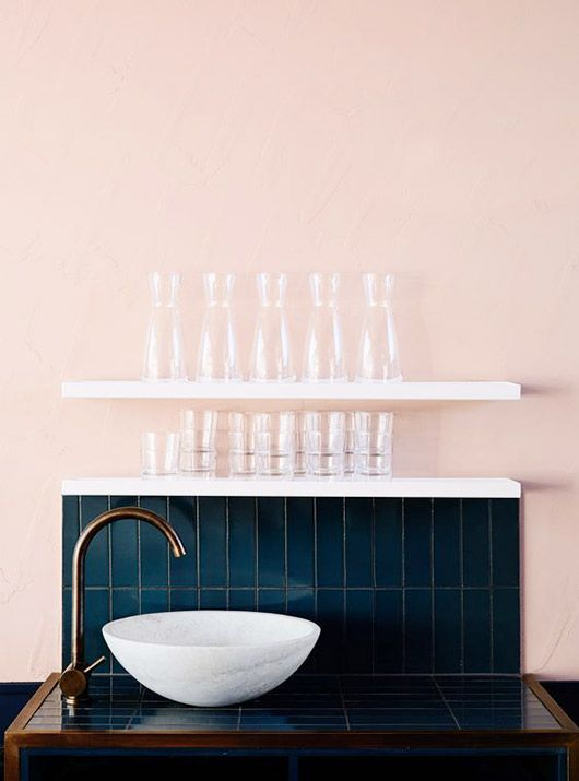 Blush Wall With Deep Blue Tile Backsplash Sfgirlbybay Love This Colour Combo
