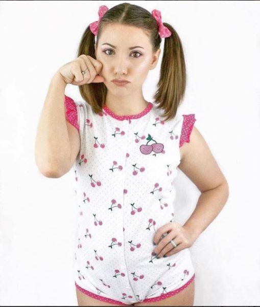 LITTLEFORBIG ADULT BABY FRONT AND CROTCH SNAP ROMPER ONESIE - CHERRY PATTERN