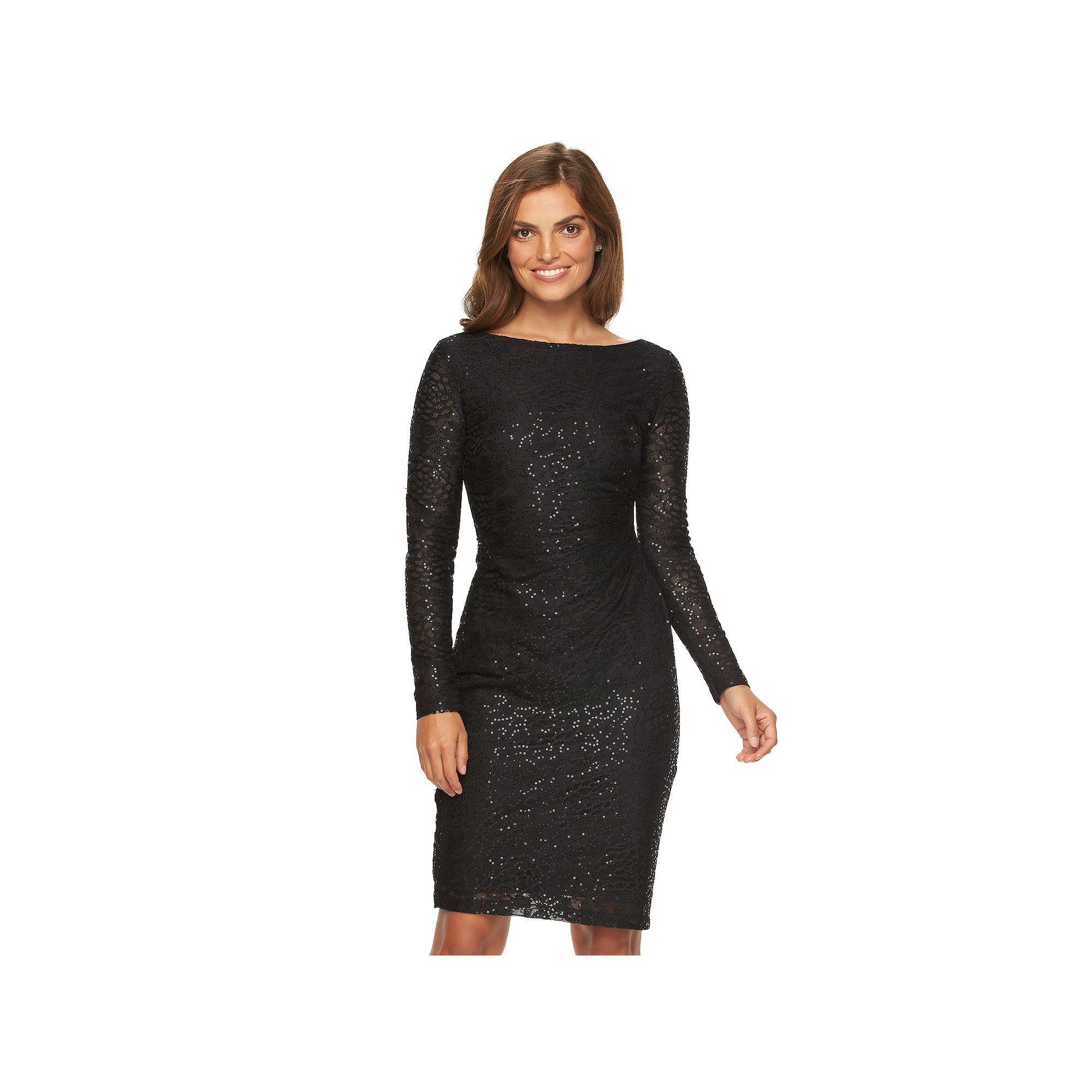 21613119087 Women s Chaps Lace Sequin Sheath Evening Dress