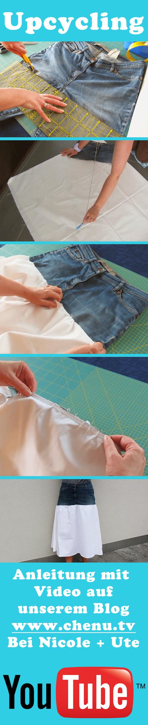Auch wenn die Jeans schon sehr kaputt ist, kann man noch was daraus ...