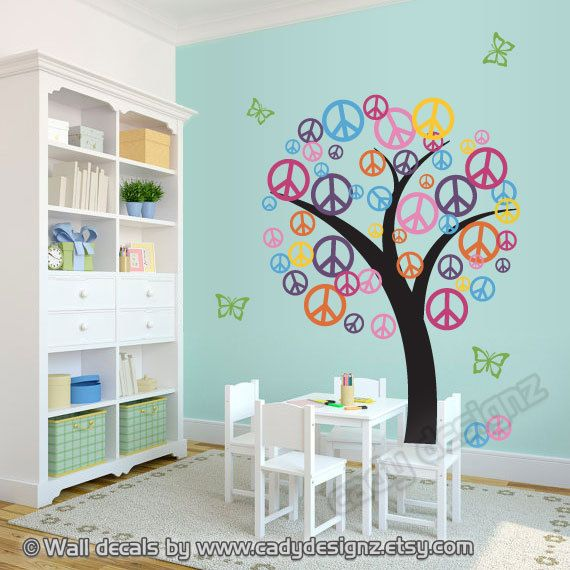 Peace Sign Bathroom Decor Prepossessing Peace Sign Vinyl Tree Decal  Sale  Children Nursery Decor Wall Decorating Inspiration