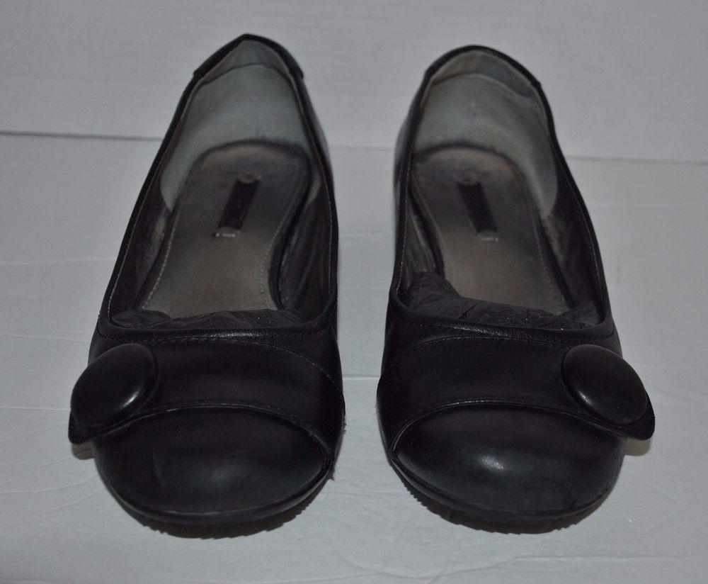 5efbf5113101 Ecco Women s Casual Bouillon Ballerina Black Leather Shoes w Button Size  39EU  ECCO  Ballerinas  Casual