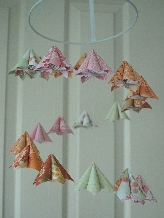 Japanese Kusudama Flower Origami Baby Mobile by PaperFuryInk