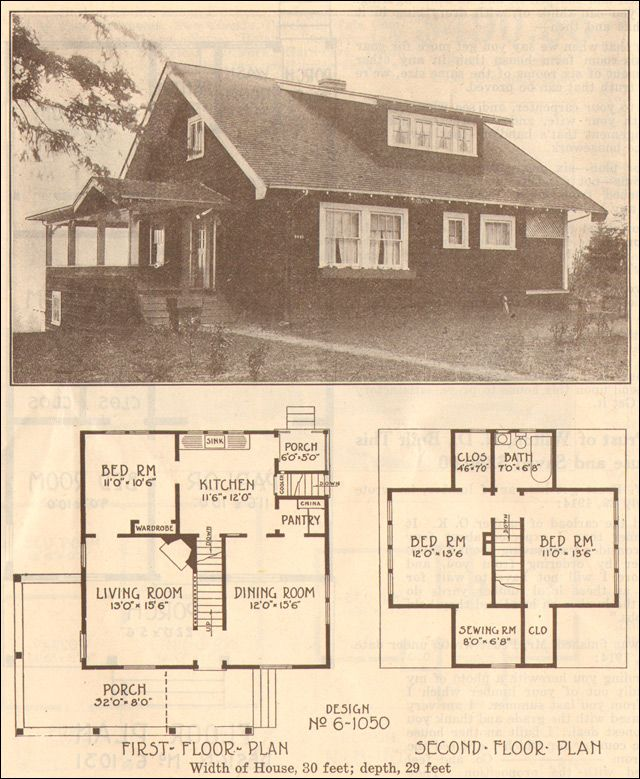 1915 Bungalow Hewitt Lea Funck Company Plan No 6 1050 For the