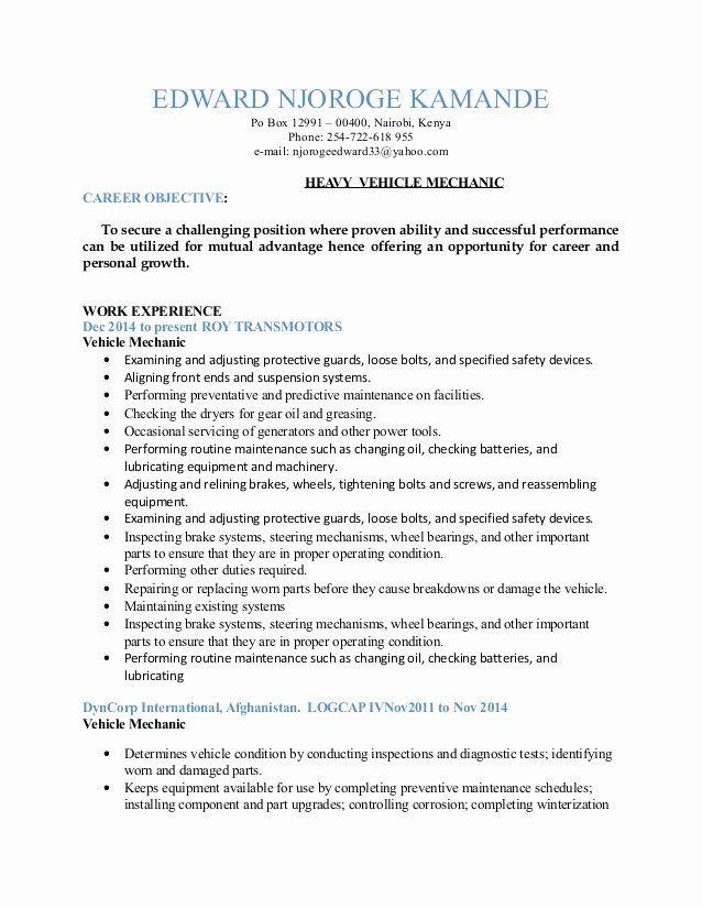 √ 20 heavy equipment mechanic resume in 2020  heavy