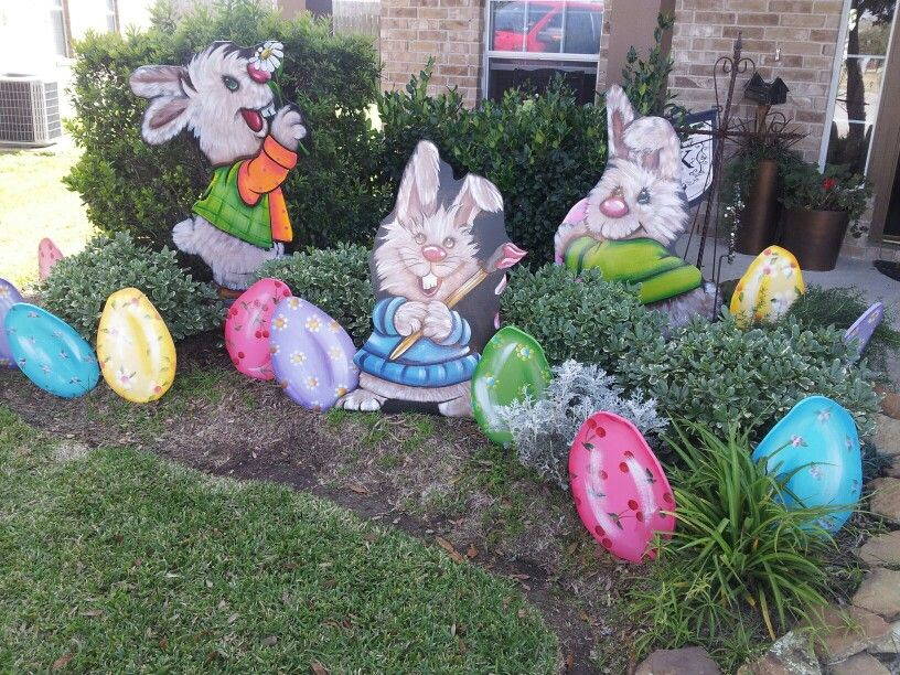 My Easter Yard Art Decorations Check Us Out On Fb Murals Faux And More Easter Yard Art Easter Yard Decorations Easter Decorations Outdoor