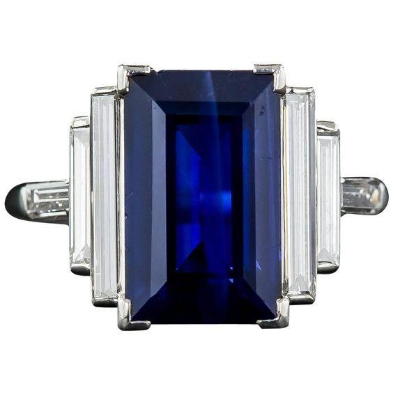 Natural No-Heat 5.00 Carat Emerald-Cut Sapphire and Long Baguette Diamond Ring