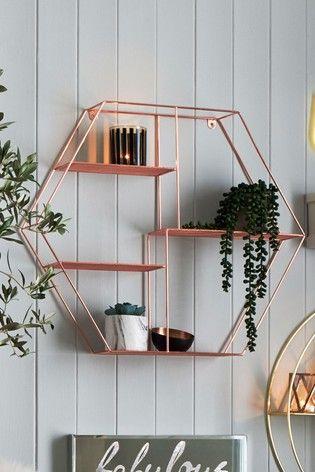 Rose Gold Hexagon Shelf | Rose gold bedroom decor, Gold ...