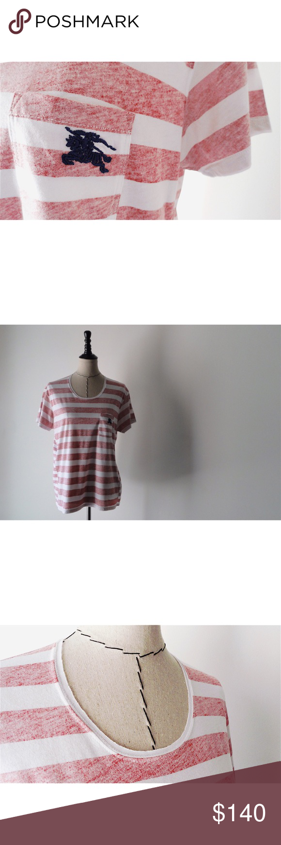⚡️FLASH⚡️NWT Burberry Faded Stripe Top NWT Burberry Brit Faded Stripe Cotton Top. Size Large. New With Tags. See Photos. Authentic Burberry. Relaxed fit top in faded stripe print. Cut from soft cotton jersey. Finished with a patch-style pocket with Burberry logo embroidered in navy. 100% Cotton. MSRP $195. Burberry Tops Tees - Short Sleeve