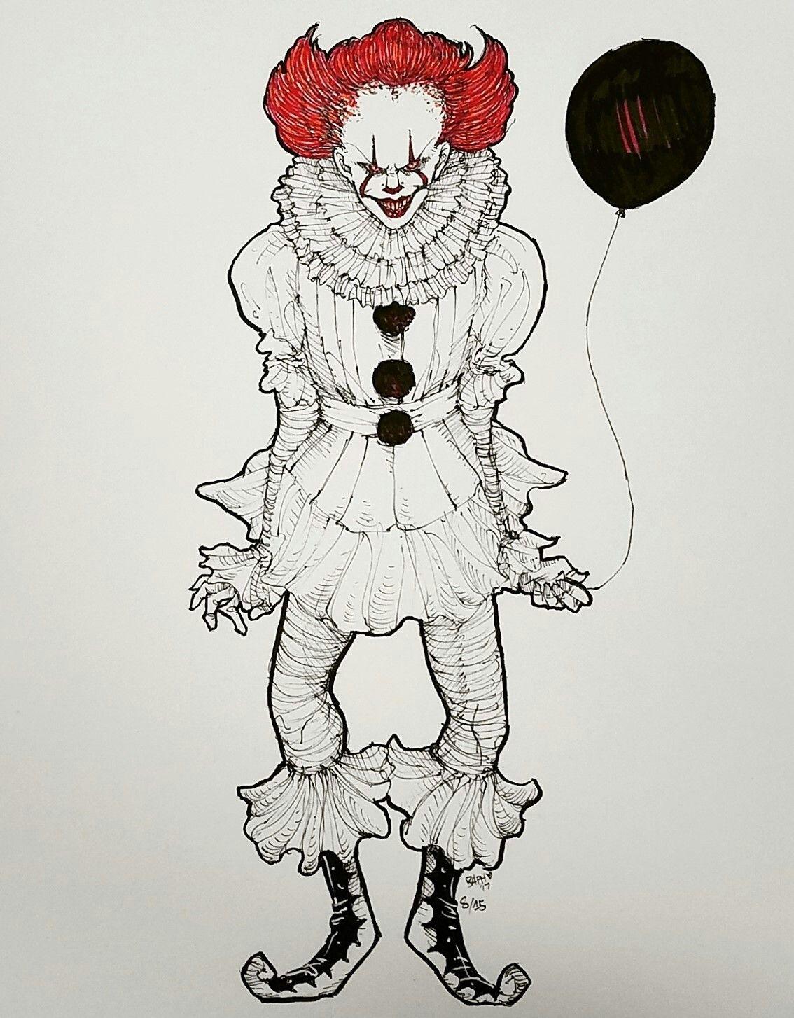 рисунок клоуна карандашом в полный рост самый