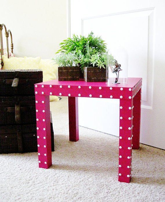 Parsons Table Side Accent End Hot Pink Lacquer White Nailheads Ikea Hack