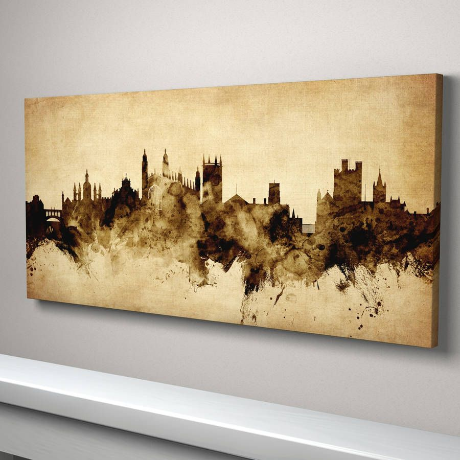 Cambridge Skyline Cityscape Vintage Art Print   Paintings ...