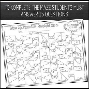 Exterior Angle Theorem Worksheet Finding Angle Measures Maze Activity Exterior Angles Finding Angle Measures Theorems